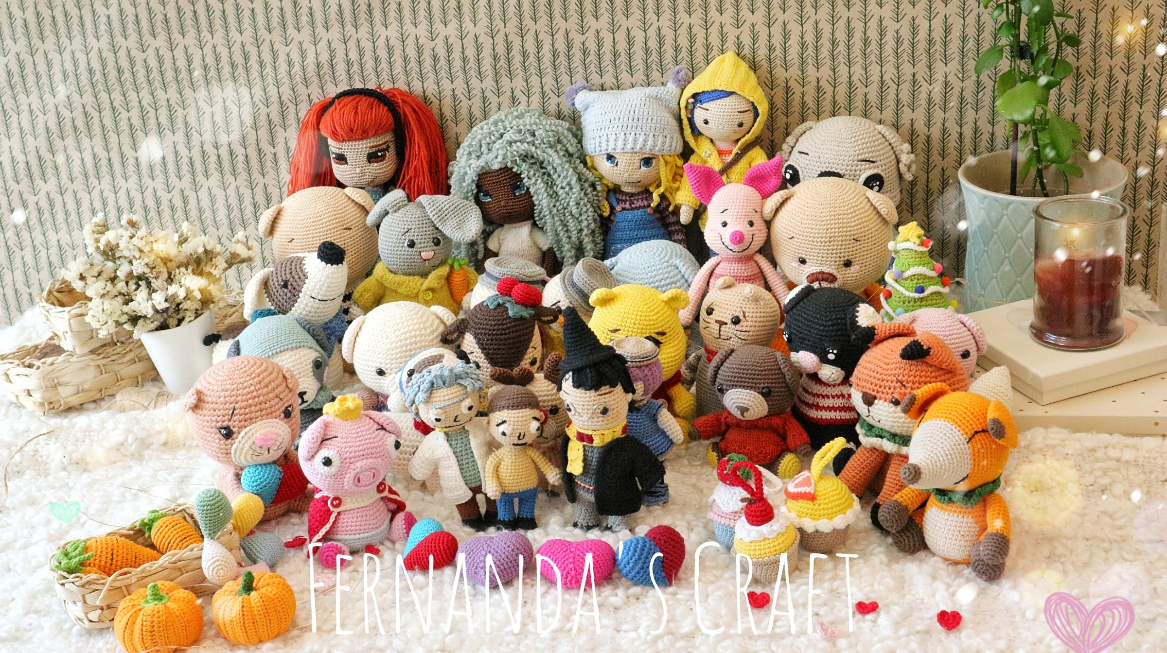 Collection of handmade dolls with crochet crochet technique
